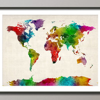 Watercolor Map of the World Map with Borders Art Print on Etsy
