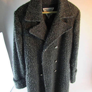 Vintage J. Percy For Marvin Richards Women's Gray Fuzzy Wool Double Breasted Peacoat Size 6 - USA Made