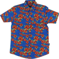 Grizzly Tropical High Button Up Tee Small Blue