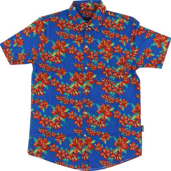 Grizzly Tropical High Button Up Tee Xxl Blue