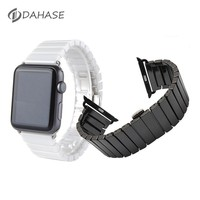 Black White Ceramic Wrist Strap for Apple Watch Band 42mm 38mm Butterfly Buckle Bracelet for iWatch 1st 2nd Series 2 Watchband