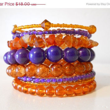 ON SALE Outrageous Orange & Purple Stacked Bracelet Beaded Wrap Bracelet