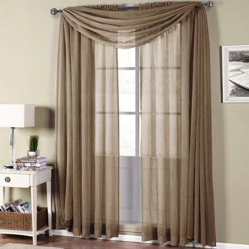 Abri Mocha Rod Pocket Crushed Sheer Curtain Panel