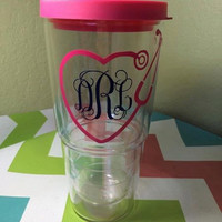 Nursing cup, nurse monogram, nurse, nurse tumbler, stethoscope tumbler, medical monogram