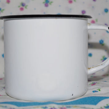 White & Black Enamel Cup Cute Soviet Vintage Enamel Camping Tea Cup Farmhouse Chipped cup White tin cup, metal mug, Circa 70's Emalware USSR