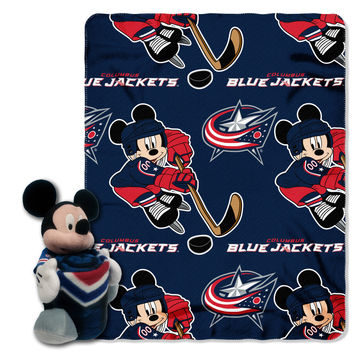 "Blue Jackets -Disney 40x50 Fleece Throw w/ 14"""" Plush Mickey Hugger"