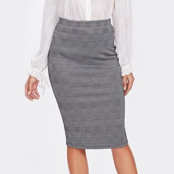 Vented Back High Waist Plaid Pencil Skirt Grey Knee Length Split Elegant Skirt Women Work Sheath Skirt
