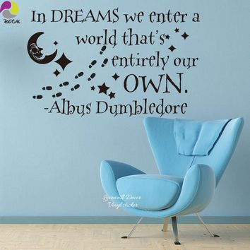 In Dream Harry Potter Albus Dumbledore Quote Wall Sticker Motivational Star Moon Paw Decal For Decor Children Room