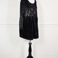 black crushed velvet empire waist ultra draped oversized slouchy dolly fit grunge goth mini dress vintage 1990s M