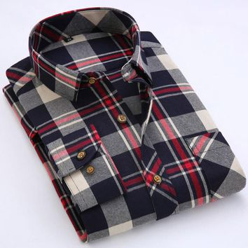 2017 Spring Men Plaid Shirts Long Sleeve Flannel Man Shirt Casual Men's Tops camisa masculina