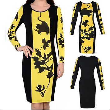 Long sleeves round neck yellow and black Chinese style ink painting sexy tight sexy dress