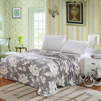 Plush Comfort Floral Microplush Blanket - Grey (Twin)