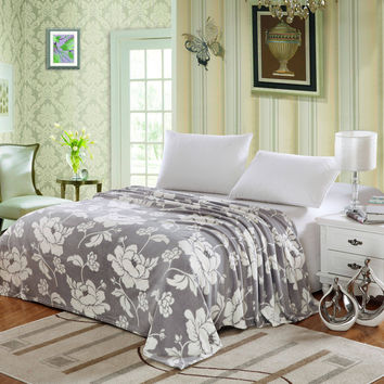 Plush Comfort Floral Microplush Blanket - Grey (Full)