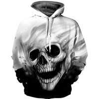 Hooded Sweatshirts Melted Skull 3D