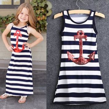 Fashion Kids Girls summer dress Sequins Anchor Navy Stripes Party Dresses Maxi dresses sleeveless child's clothes 3-8Y