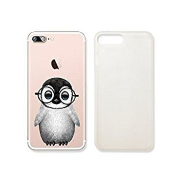 Cute Penguin Wearing Glasses Clear Transparent Plastic Phone Case Phone Cover for Iphone 7PLUS_ SUPERTRAMPshop (iphone 7 plus)