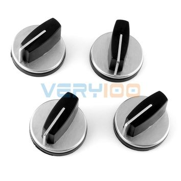 NEW 4pcs Kitchen Gas Stove Cooker Oven Control Rotary Switch Knobs Black Silver Tone Free Shipping!
