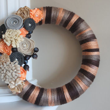 Year Round Wreath, Everyday Wreath, Wreath, Wedding Wreath, Peach, Coral, Brown, Grey, Fall Wreath, Autumn Wreath, Felt Flower Wreath, Gift