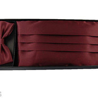 Men's Women's Solid DARK BURGUNDY Wedding Cummerbund & Bow Tie Set-Brand New!