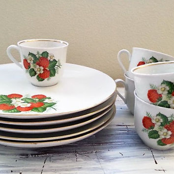 Luncheon porcelain plates and tea coffee cups, Wild Strawberry and blossoms, Made in Germany,  Bavaria Schumann Arzberg, Free US Shipping