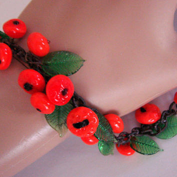 Vintage Czech Glass Fruit Salad Bead Bracelet * Art Glass * Green Glass Leaves * Glass Tangerine Beads  * Jewelry * Jewellery