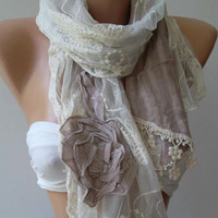 Elegance Shawl - Light  Lilac   Roses - Scarf with Lace Edge,