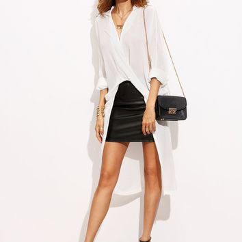 Rolled Up Sleeve Asymmetrical Longline Crossover Blouse
