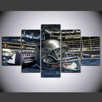 Modern Wall Art home decor Painting 5 Piece No Frame Dallas cowboys football helmet Pictures For Drawing room Canvas Print