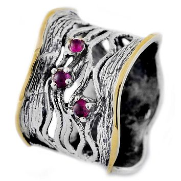 The Wave Gemstone Ring Silver , Gold & Gemstones