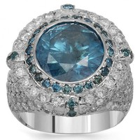 14K Solid White Gold Mens Diamond Pinky Ring with Blue Diamonds 7.04 Ctw