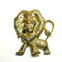 Vintage Earring Holder Gold Tone Lion Torino
