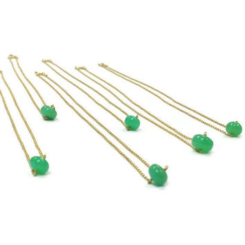 Chrysoprase Necklace - Green & Gold Necklace Gemstone Simple Dainty
