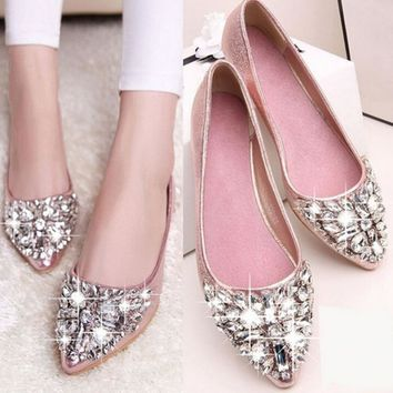 2016 Summer Women Crystal Flats Shoes Fashion Flats for Women Pointed Toe Soft Flat He