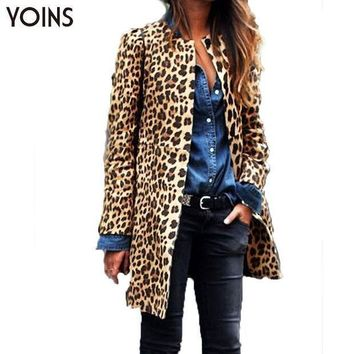 Yoins Woman Fashion Leopard Button Long Coat Ladies Long Sleeve Round Neck Slim Overcoat Casual Warm Blazer Outerwear Famininas