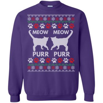 Meow Purr Cats Ugly Sweater Design Sweatshirt