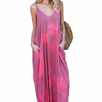 Rosy Multi Colors Tie Dye Holiday Maxi Dress
