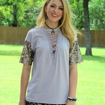 Sight To See Sequin Sleeve Top in Grey