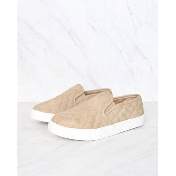 quilted slip on sneakers - taupe