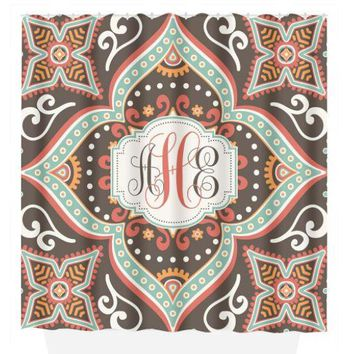 Mandala SHOWER CURTAIN, Tribal Design, Custom MONOGRAM Personalized Bathroom Decor Floral Pattern Dorm Bathroom Bath Towel,  Bath Mat