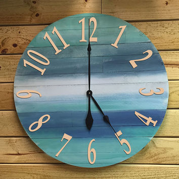 "Large Round Wood Beach Wall Beach Clock - 30"" Homemade Clock Ocean Colors - Beach house decor, Nautical Theme, Lake House, or Coastal Decor."