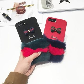 Cute Fluffy Detailing 3D Bowtie Sequins iPhone Case