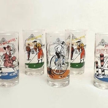 Set of 5 Anchor Hocking Drinking Glasses Heydays