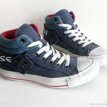 Navy blue, denim and red Converse All Stars, with double uppers & padded collar, vintage Chucks. Size 36 (UK 3.5, US wo's 5.5, US men's 3.5)