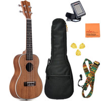 ADM Koa Plywood Concert 23 Inch Intermediate Professional Ukulele Bundle with Gig Bag Tuner Brown