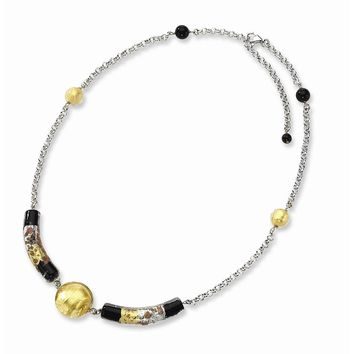 Sterling Silver 16 Inch Murano Glass Bead & Onyx Necklace
