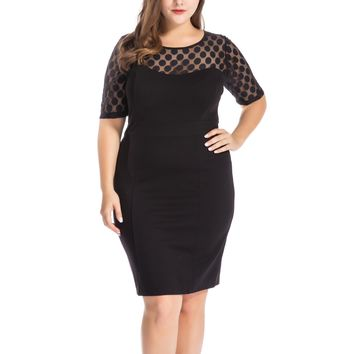 Chicwe Women's Plus Size NR Ponte Sheath Dress with Jacquard Lace Top US14-26