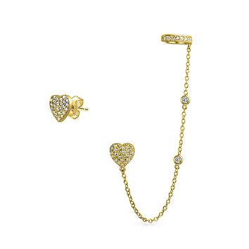 Heart Chain Cartilage Earring CZ Stud 14K Gold Plated Sterling Silver