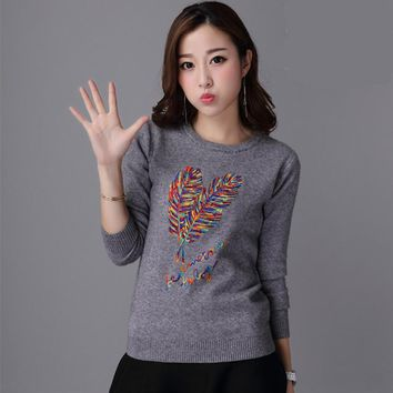 2017 spring autumn new korean women knitted pullover sweater womens sexy slim feather letter pullovers femme tricot pull jumper