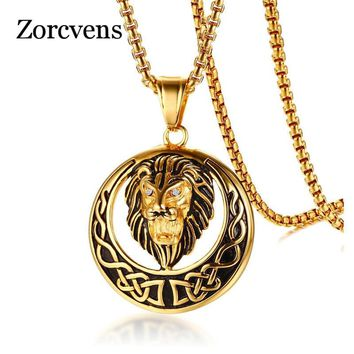 ZORCVENS Punk Gold Color Stainless Steel Animal Lion Head Shape Pendant Necklace for Men