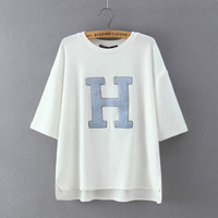 White Letter Embroidery Loose T-shirt